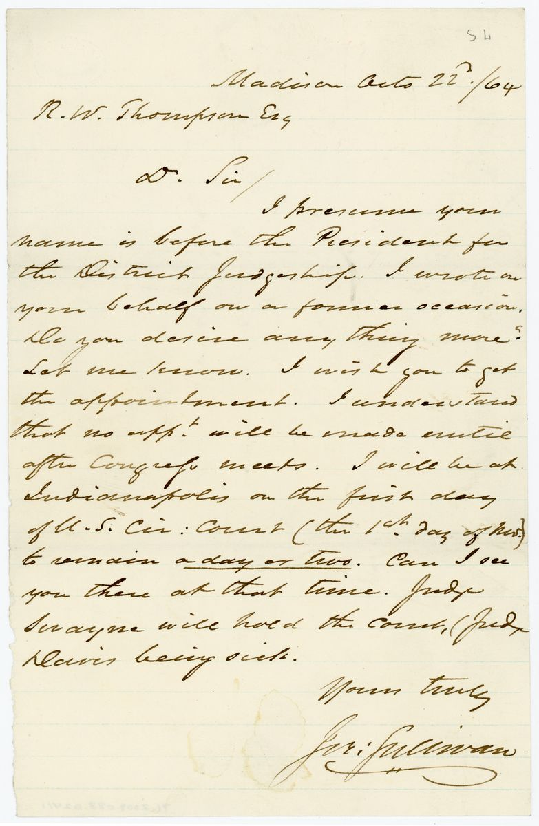 Image: Letter from Jeremiah Sullivan to Richard W. Thompson