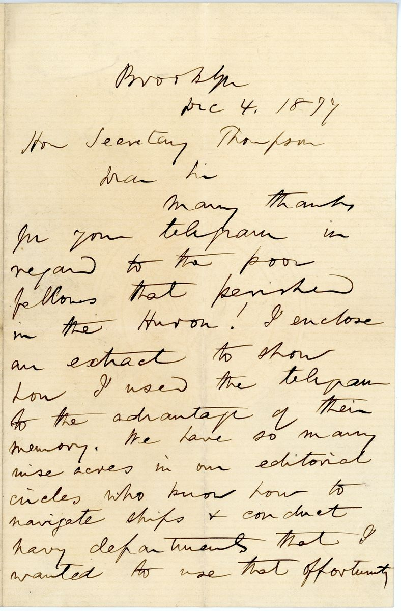 Image: Letter from T. De Witt Talmage to Richard W. Thompson