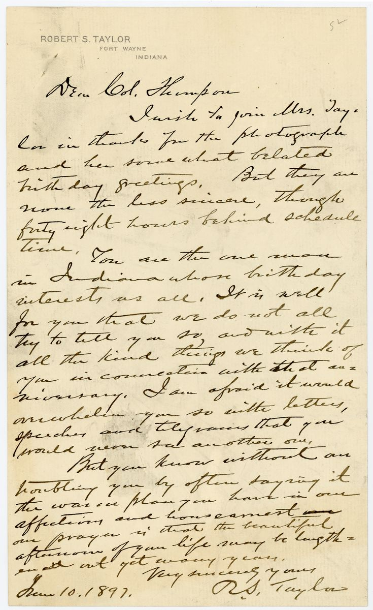 Image: Letter from Robert S. Taylor to Richard W. Thompson