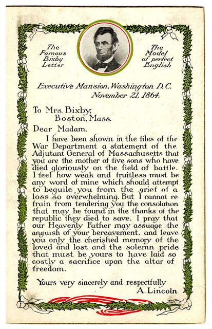 Postcard Of Mrs  Bixby U0026 39 S Letter
