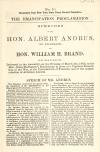 Image: The Emancipation Proclamation : speeches of the Hon. Albert Andrus, of Franklin, and Hon. William H. Brand, of Madison, delivered in the Assembly, on the evening of March 4th, 1863, on the Hon. James Redington's resolutions in favor of a vigorous prosecution of the war, of the proclamation of freedom, and of the administration of Abraham Lincoln.