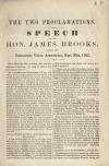 Image: The two proclamations : speech of the Hon. James Brooks, before the Democratic Union Association, Sept. 29th, 1862.