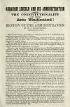 Image: Abraham Lincoln and his administration : the constitutionality of his acts vindicated! : with a review of the administration /