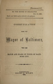 Image: Communication from the Mayor of Baltimore : with the Mayor and Board of Police of Baltimore City.