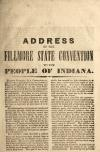 Image: Address of the Fillmore State Convention to the people of Indiana.