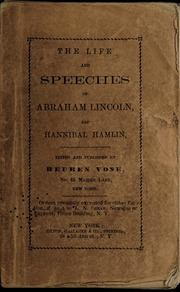 Image: The life and speeches of Abraham Lincoln and Hannibal Hamlin /