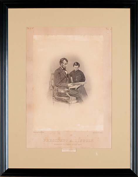 "Image: Anthony Berger, photographer. ""President A. Lincoln Reading the Bible to his Son."" New York, 1865. Retouched photograph from the negative"