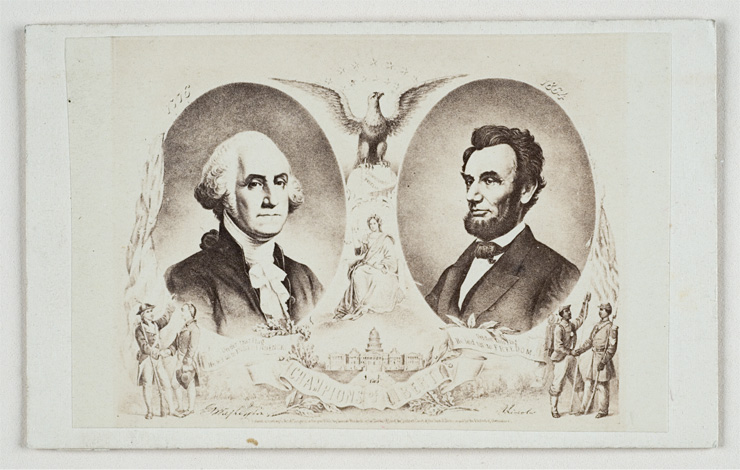 Image: Untitled print of George Washington and Abraham Lincoln