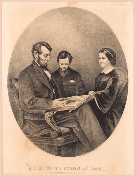 "Image: Currier & Ives, publisher. ""President Lincoln at Home Reading the Scriptures to his Wife and Son."" New York, 1865. Lithograph"