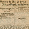Image: Mummy is That of Booth, Chicago Physician Believes