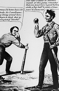 Cartoon including Lincoln and Stephen Douglas