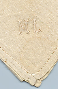 Handkerchief with Mary Lincoln's monogram. Textiles.